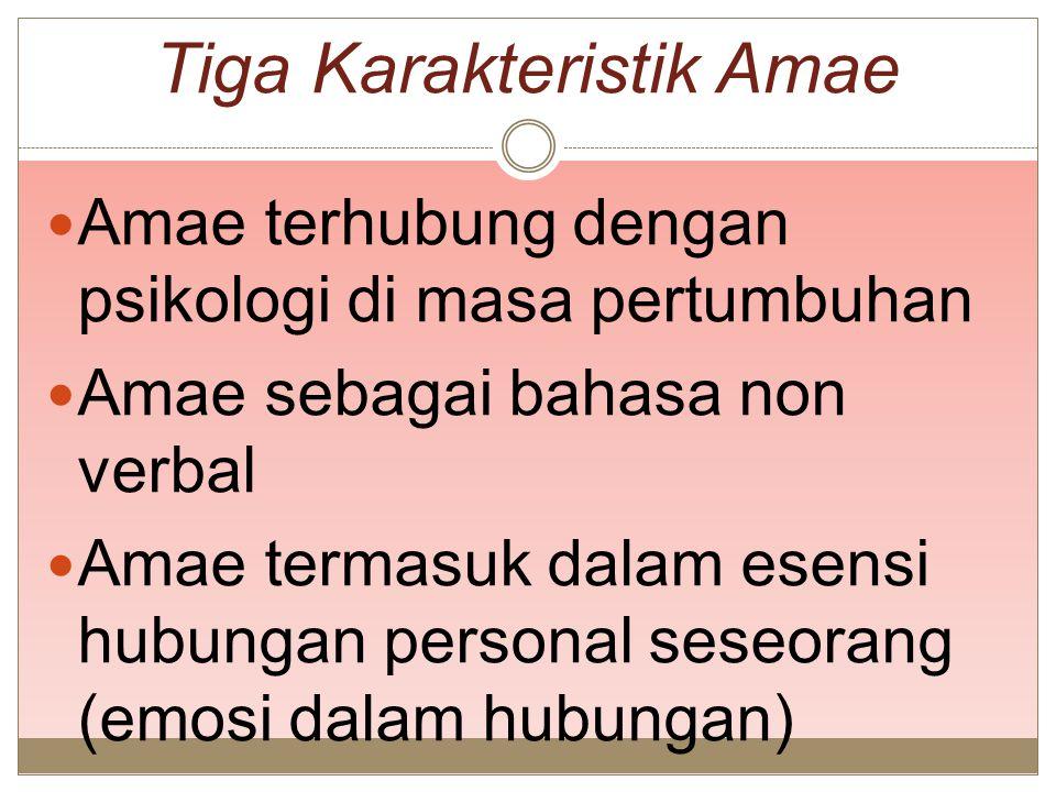 Tiga Karakteristik Amae Amae terhubung dengan psikologi di masa pertumbuhan Amae sebagai bahasa non verbal Amae termasuk dalam esensi hubungan persona