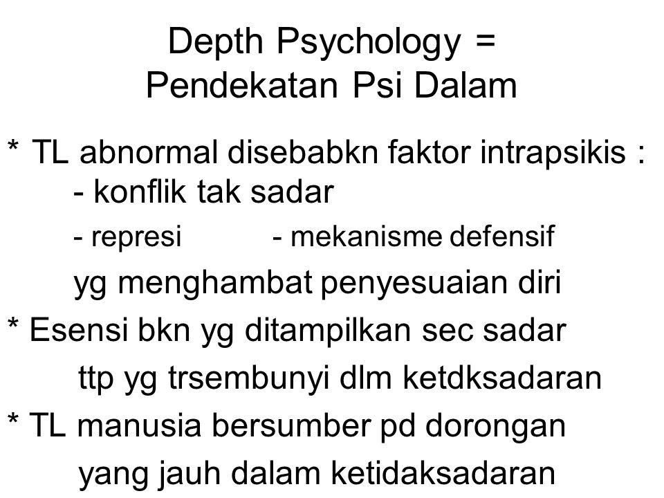 Depth Psychology = Pendekatan Psi Dalam *TL abnormal disebabkn faktor intrapsikis : - konflik tak sadar - represi- mekanisme defensif yg menghambat pe