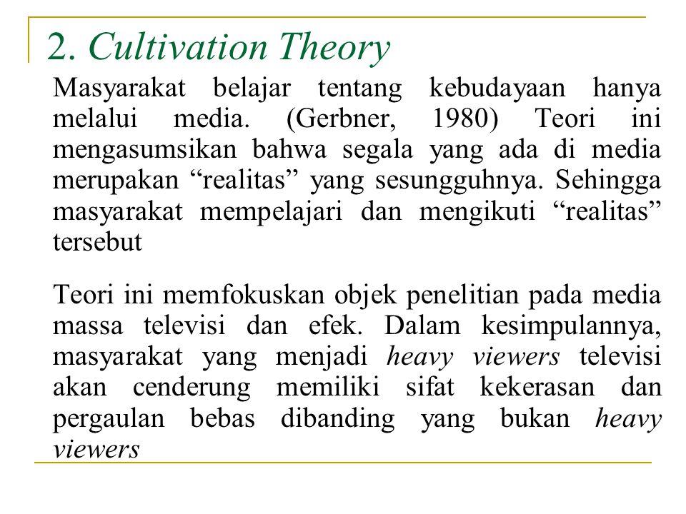 2.Cultivation Theory Masyarakat belajar tentang kebudayaan hanya melalui media.