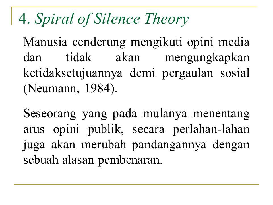 4. Spiral of Silence Theory Manusia cenderung mengikuti opini media dan tidak akan mengungkapkan ketidaksetujuannya demi pergaulan sosial (Neumann, 19