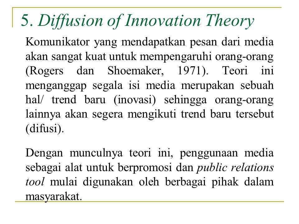 5. Diffusion of Innovation Theory Komunikator yang mendapatkan pesan dari media akan sangat kuat untuk mempengaruhi orang-orang (Rogers dan Shoemaker,