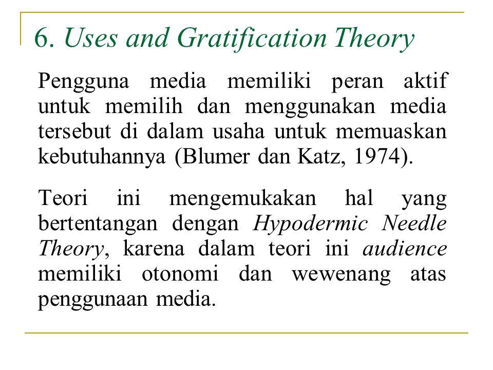 6. Uses and Gratification Theory Pengguna media memiliki peran aktif untuk memilih dan menggunakan media tersebut di dalam usaha untuk memuaskan kebut