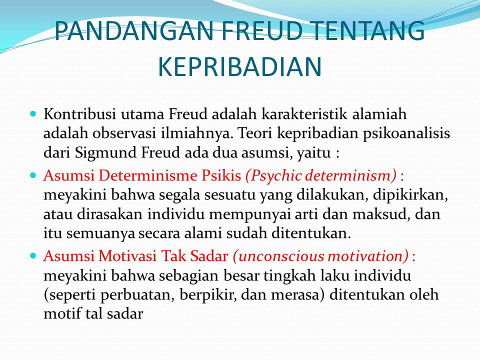 STRUKTUR KEPRIBADIAN MENURUT SIGMUND FREUD Menurut Freud pada tahun 1920-an kehidupan jiwa memiliki tiga tingkat kesadaran, yakni: Sadar (conscious), Pra-sadar (Preconscious), Tak Sadar (unconscious) Kesadaran (conscious) Tingkat kesadaran yang berisi semua hal yang kita cermati pada saat tertentu.