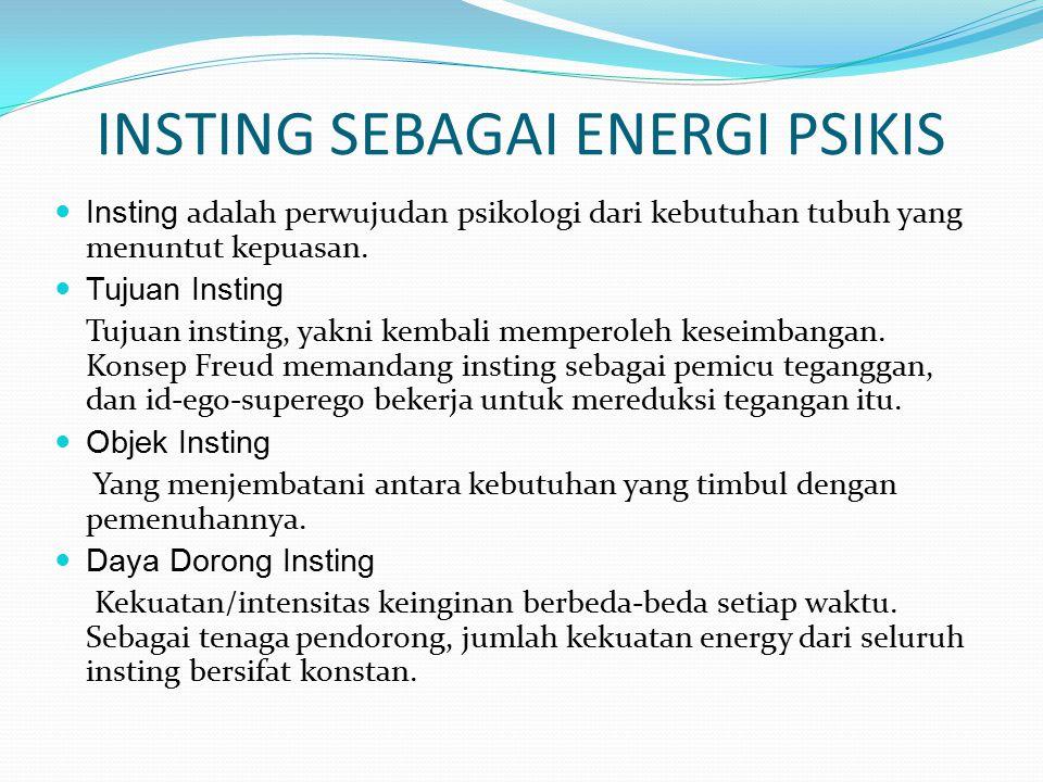 JENIS – JENIS INSTING Insting Hidup (life instinct eros) adalah motif dasar manusia yang mendorong untuk bertingkah laku secara positif dan juga dorongan yang menjamin survival dan produksi.