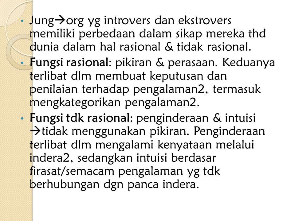 Jung  org yg introvers dan ekstrovers memiliki perbedaan dalam sikap mereka thd dunia dalam hal rasional & tidak rasional. Fungsi rasional: pikiran &