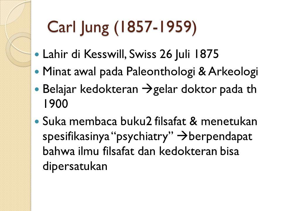 Carl Jung (1857-1959) Lahir di Kesswill, Swiss 26 Juli 1875 Minat awal pada Paleonthologi & Arkeologi Belajar kedokteran  gelar doktor pada th 1900 S