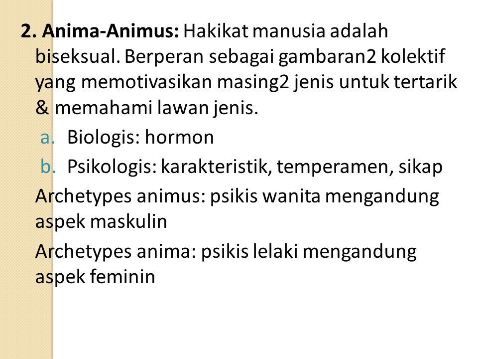 2. Anima-Animus: Hakikat manusia adalah biseksual. Berperan sebagai gambaran2 kolektif yang memotivasikan masing2 jenis untuk tertarik & memahami lawa
