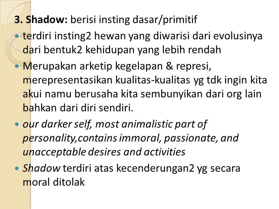 3. Shadow: berisi insting dasar/primitif terdiri insting2 hewan yang diwarisi dari evolusinya dari bentuk2 kehidupan yang lebih rendah Merupakan arket