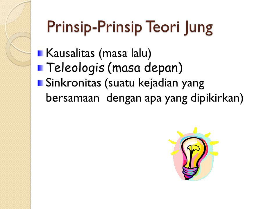 Prinsip-Prinsip Teori Jung Kausalitas (masa lalu) Teleologis (masa depan) Sinkronitas (suatu kejadian yang bersamaan dengan apa yang dipikirkan)
