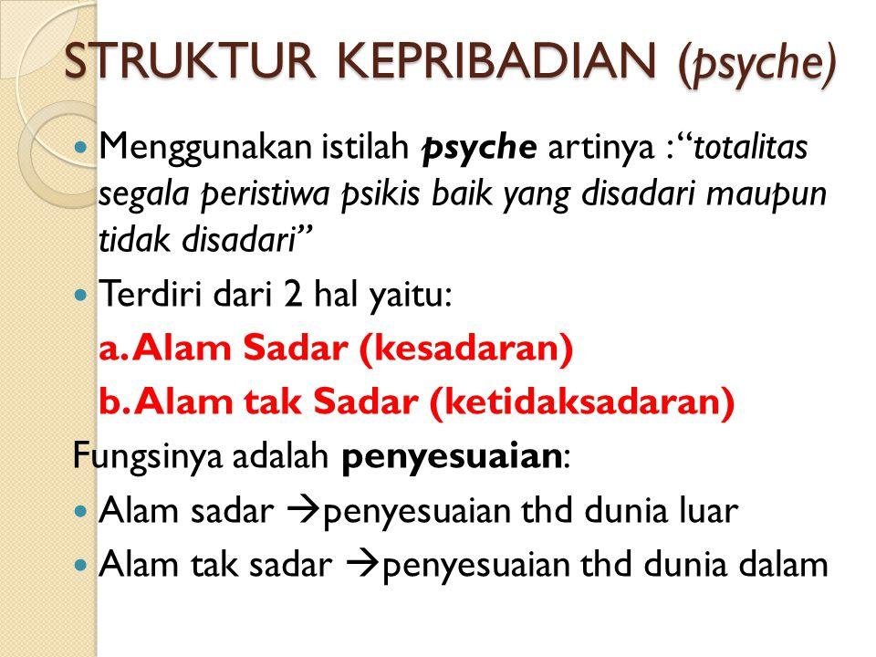 """STRUKTUR KEPRIBADIAN (psyche) Menggunakan istilah psyche artinya : """"totalitas segala peristiwa psikis baik yang disadari maupun tidak disadari"""" Terdir"""
