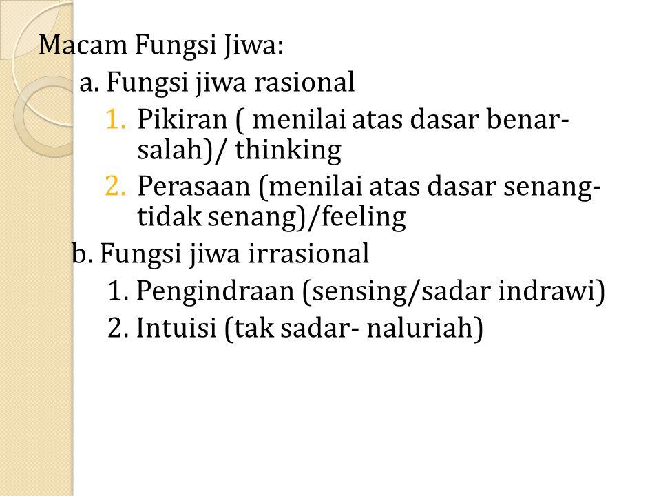 Macam Fungsi Jiwa: a. Fungsi jiwa rasional 1.Pikiran ( menilai atas dasar benar- salah)/ thinking 2.Perasaan (menilai atas dasar senang- tidak senang)