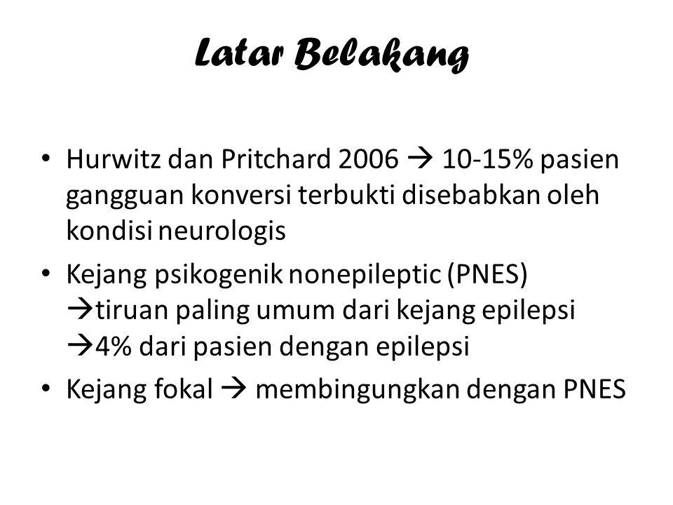 Latar Belakang Hurwitz dan Pritchard 2006  10-15% pasien gangguan konversi terbukti disebabkan oleh kondisi neurologis Kejang psikogenik nonepileptic (PNES)  tiruan paling umum dari kejang epilepsi  4% dari pasien dengan epilepsi Kejang fokal  membingungkan dengan PNES