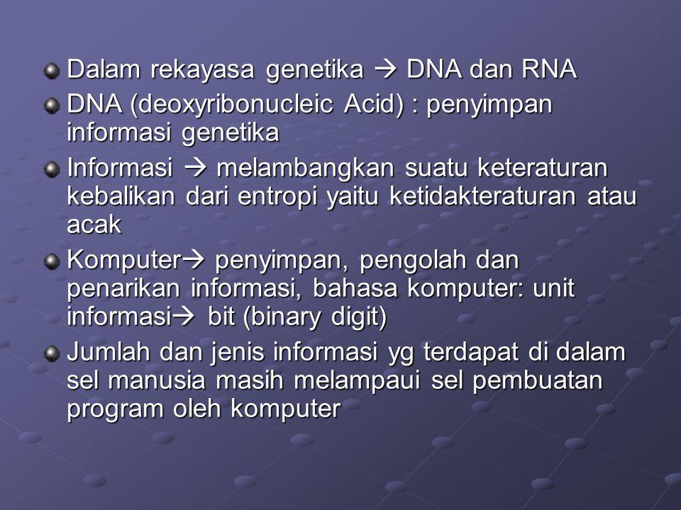 Dalam rekayasa genetika  DNA dan RNA DNA (deoxyribonucleic Acid) : penyimpan informasi genetika Informasi  melambangkan suatu keteraturan kebalikan