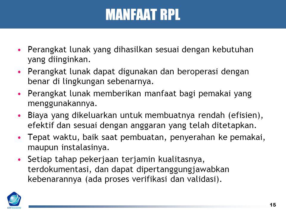 15 MANFAAT RPL Perangkat lunak yang dihasilkan sesuai dengan kebutuhan yang diinginkan. Perangkat lunak dapat digunakan dan beroperasi dengan benar di