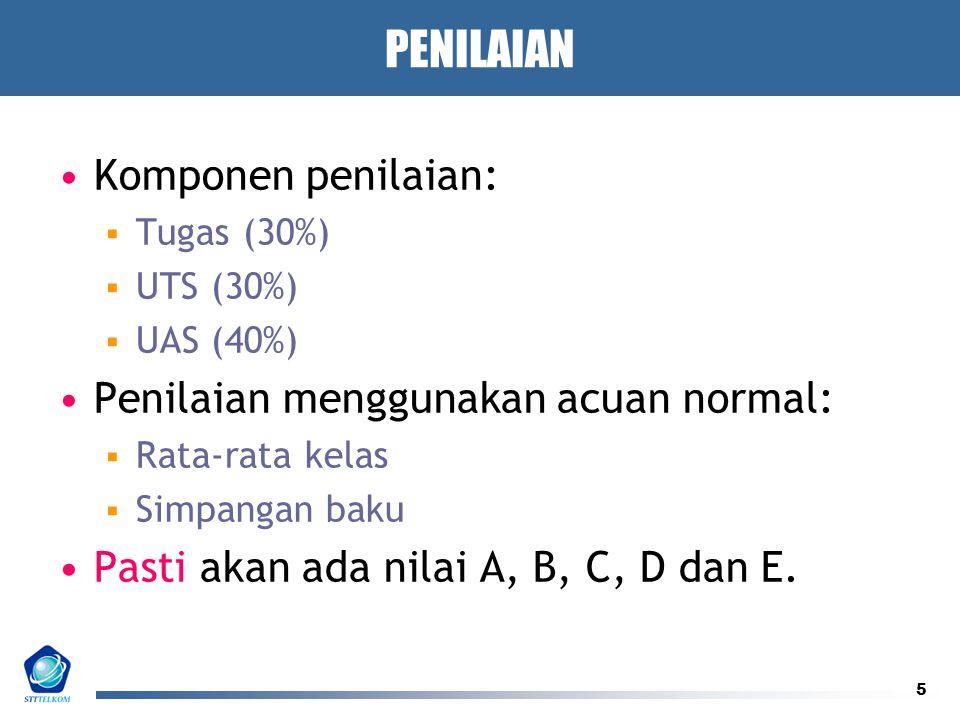 5 PENILAIAN Komponen penilaian:  Tugas (30%)  UTS (30%)  UAS (40%) Penilaian menggunakan acuan normal:  Rata-rata kelas  Simpangan baku Pasti akan ada nilai A, B, C, D dan E.