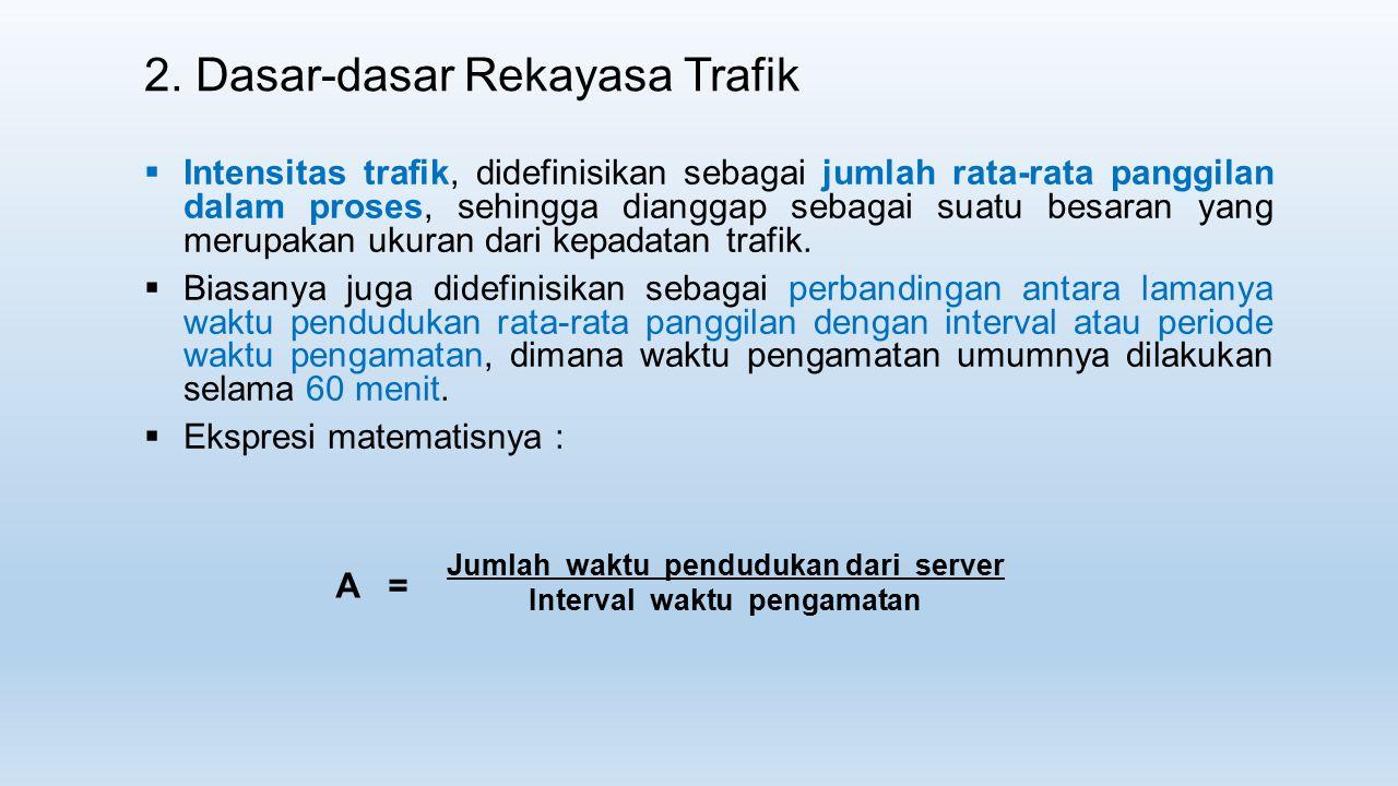  Intensitas trafik, didefinisikan sebagai jumlah rata-rata panggilan dalam proses, sehingga dianggap sebagai suatu besaran yang merupakan ukuran dari