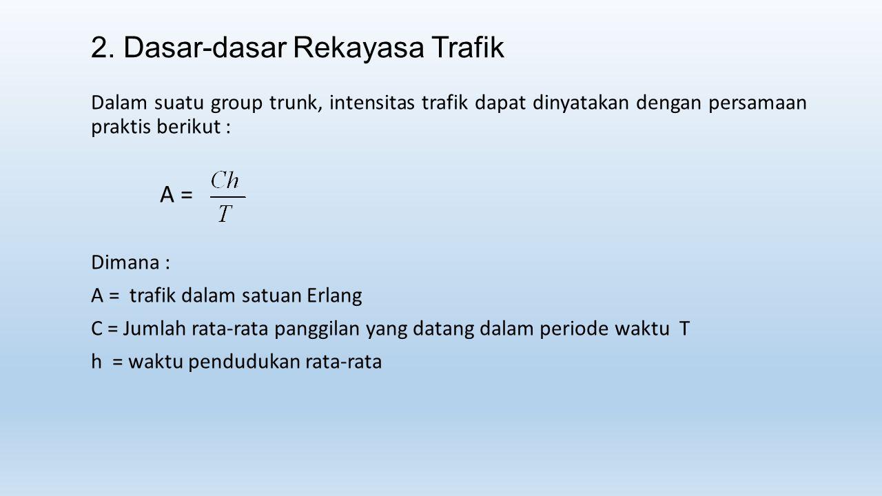2. Dasar-dasar Rekayasa Trafik Dalam suatu group trunk, intensitas trafik dapat dinyatakan dengan persamaan praktis berikut : A = Dimana : A = trafik