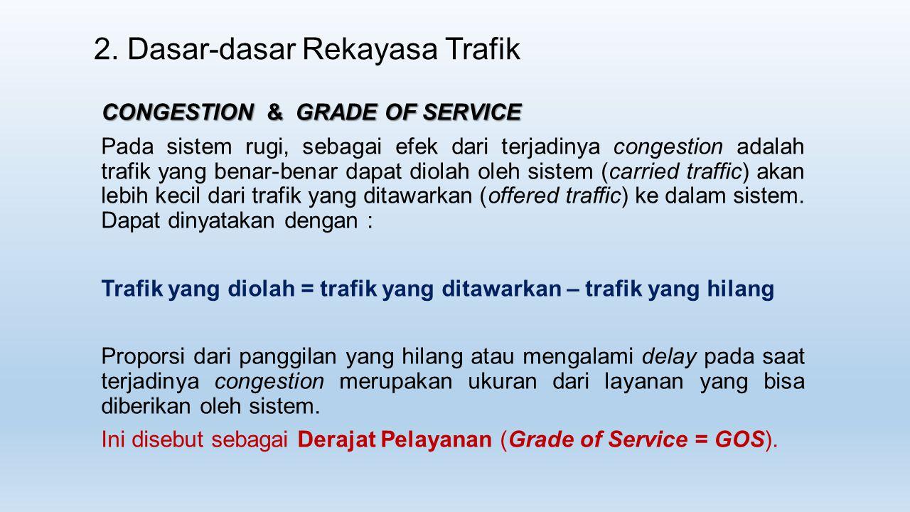2. Dasar-dasar Rekayasa Trafik CONGESTION & GRADE OF SERVICE Pada sistem rugi, sebagai efek dari terjadinya congestion adalah trafik yang benar-benar