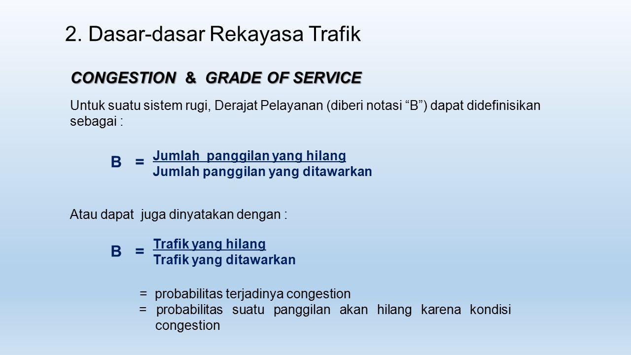 """2. Dasar-dasar Rekayasa Trafik CONGESTION & GRADE OF SERVICE Untuk suatu sistem rugi, Derajat Pelayanan (diberi notasi """"B"""") dapat didefinisikan sebaga"""