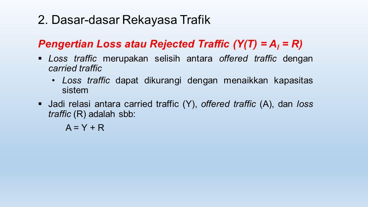 2. Dasar-dasar Rekayasa Trafik Pengertian Loss atau Rejected Traffic (Y(T) = A l = R)  Loss traffic merupakan selisih antara offered traffic dengan c