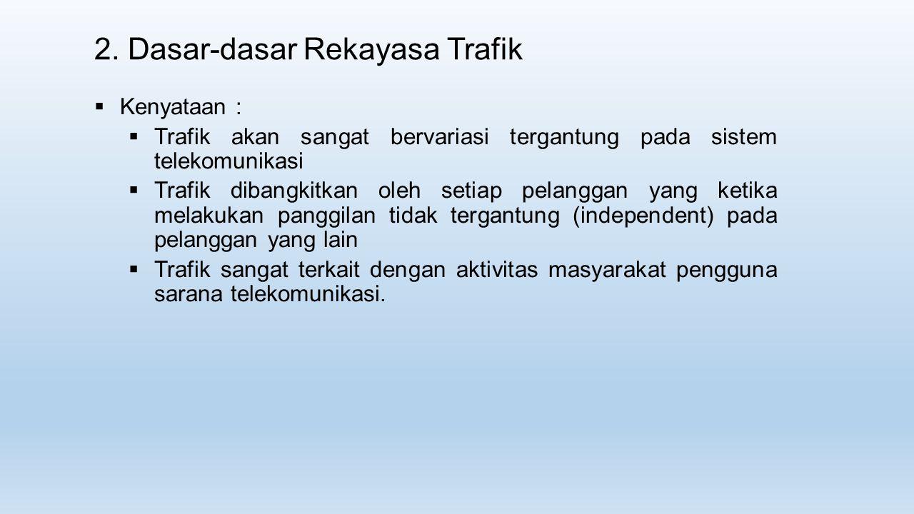 2. Dasar-dasar Rekayasa Trafik  Kenyataan :  Trafik akan sangat bervariasi tergantung pada sistem telekomunikasi  Trafik dibangkitkan oleh setiap p