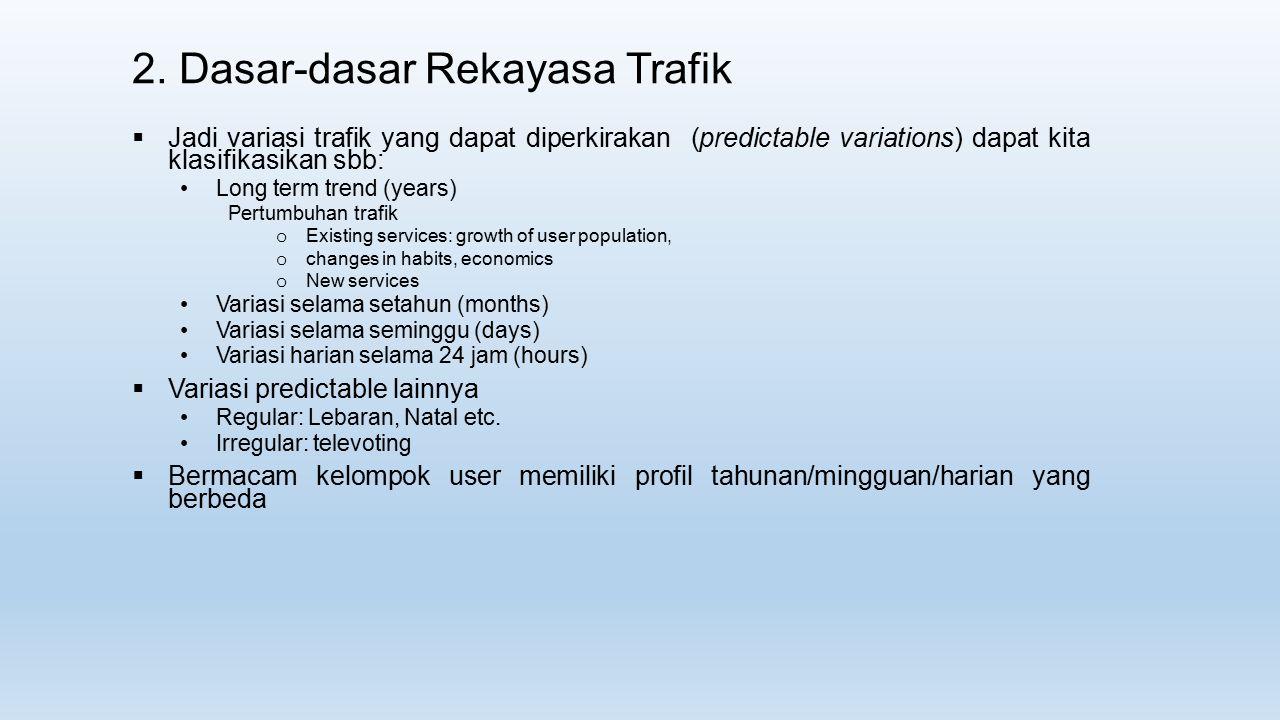 2. Dasar-dasar Rekayasa Trafik  Jadi variasi trafik yang dapat diperkirakan (predictable variations) dapat kita klasifikasikan sbb: Long term trend (