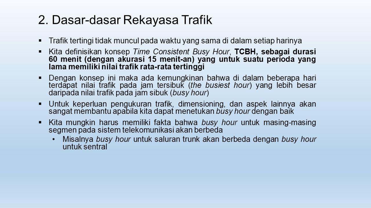 2. Dasar-dasar Rekayasa Trafik  Trafik tertingi tidak muncul pada waktu yang sama di dalam setiap harinya  Kita definisikan konsep Time Consistent B