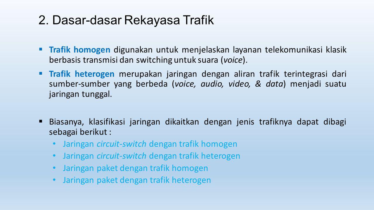2. Dasar-dasar Rekayasa Trafik  Trafik homogen digunakan untuk menjelaskan layanan telekomunikasi klasik berbasis transmisi dan switching untuk suara