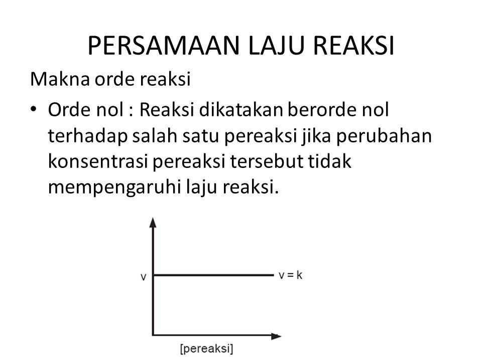 PERSAMAAN LAJU REAKSI Makna orde reaksi Orde nol : Reaksi dikatakan berorde nol terhadap salah satu pereaksi jika perubahan konsentrasi pereaksi terse