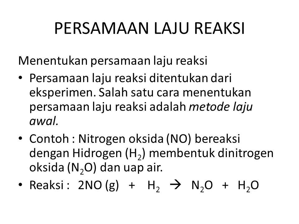 PERSAMAAN LAJU REAKSI Menentukan persamaan laju reaksi Persamaan laju reaksi ditentukan dari eksperimen. Salah satu cara menentukan persamaan laju rea