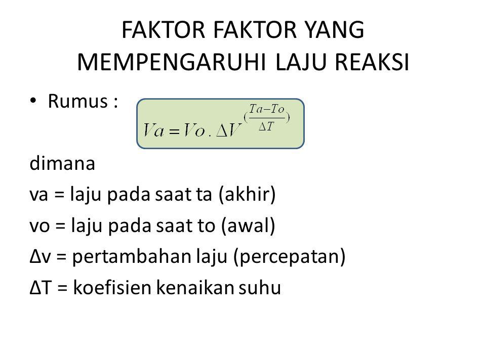 FAKTOR FAKTOR YANG MEMPENGARUHI LAJU REAKSI Rumus : dimana va = laju pada saat ta (akhir) vo = laju pada saat to (awal) ∆v = pertambahan laju (percepa