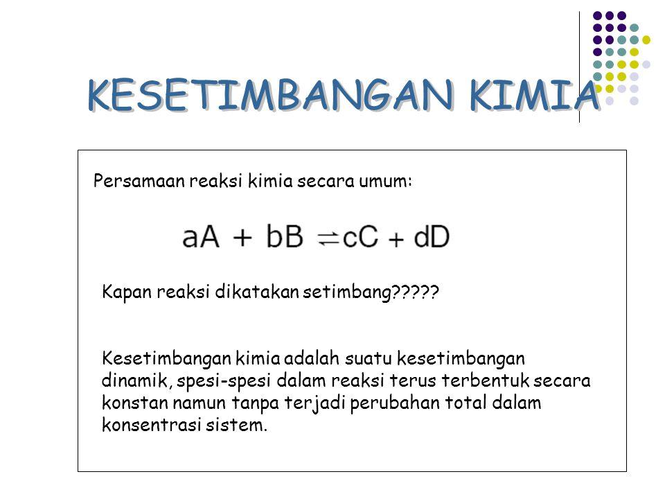 Persamaan reaksi kimia secara umum: Kapan reaksi dikatakan setimbang????? Kesetimbangan kimia adalah suatu kesetimbangan dinamik, spesi-spesi dalam re