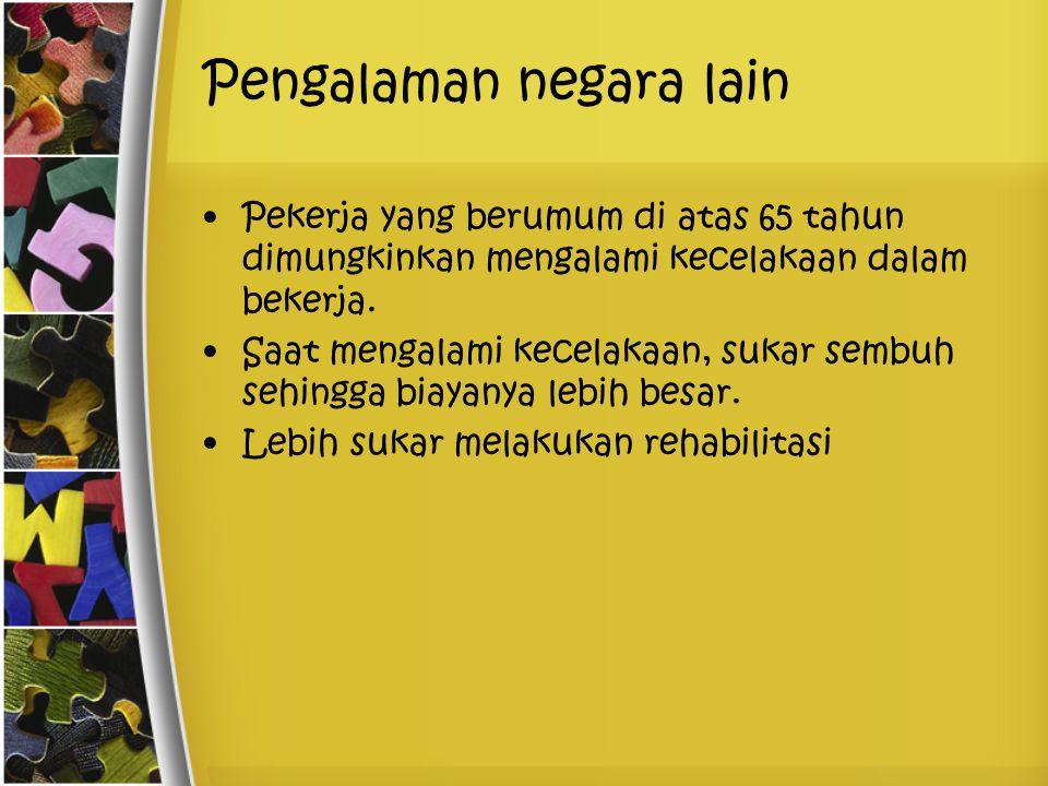 Asumsi Tradisional Usia pensiun di Indonesia terlalu rendah (PNS)Ketiadaan dana perusahaan (pemerintah)Perubahan kebijakanNilai yang dibayarkan terlalu kecil Tidak adanya informasi yang jelas Belum adanya orang yang dapat menggantikan