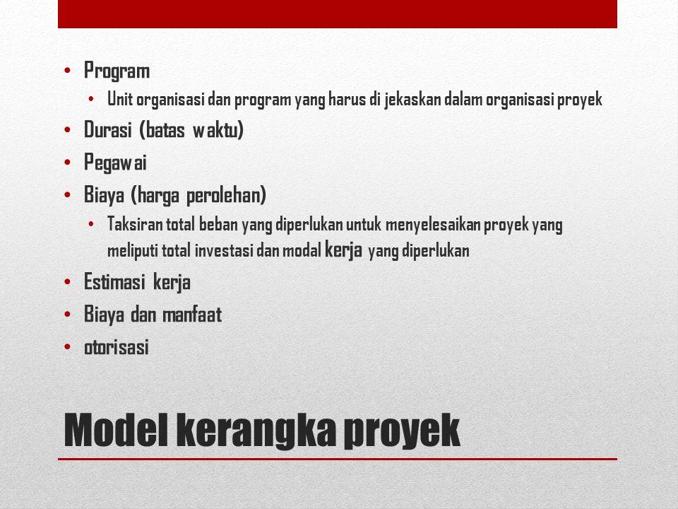 Model kerangka proyek Program Unit organisasi dan program yang harus di jekaskan dalam organisasi proyek Durasi (batas waktu) Pegawai Biaya (harga perolehan) Taksiran total beban yang diperlukan untuk menyelesaikan proyek yang meliputi total investasi dan modal kerja yang diperlukan Estimasi kerja Biaya dan manfaat otorisasi