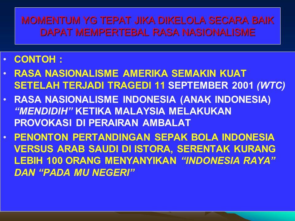 DI INDONESIA SEMANGAT NASIONALISME ATAU KECINTAAN PD BANGSA OLEH PENDIRI NEGARA DG CERDIK DIPADUKAN DG HARGA DIRI (DIGNITY) UTK MELAWAN PENINDASAN KOL