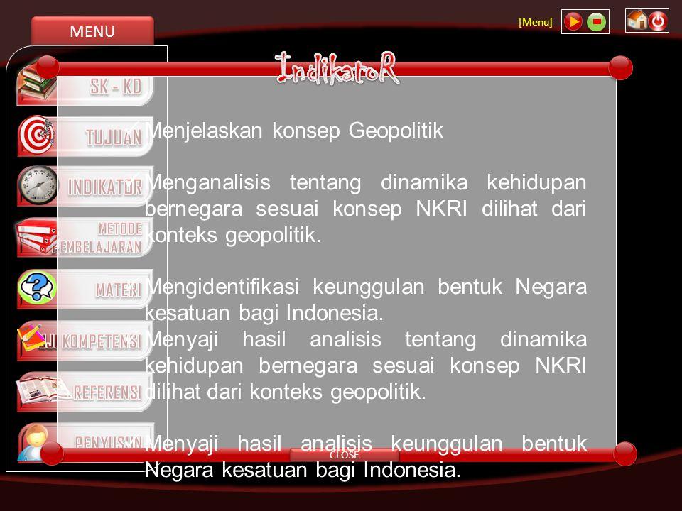 MENU [Menu] NEXT Konsep persatuan dan kesatuan Konsep Geopolitik Konsep Negara Kepulauan Konsep Negara Kebangsaan Konsep kebangsaan Konsep Bhineka Tunggal Ika, Konsep BATU BANGUN