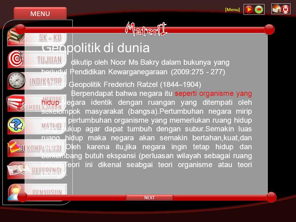 MENU [Menu] NEXT UUD Negara Republik Indonesia Tahun 1945 secara nyata mengandung semangat agar Indonesia ini bersatu,baik yang tercantum dalam Pembukaan maupun dalam pasal-pasal yang langsung menyebutkan tentang Negara Kesatuan Republik Indonesia dalam lima Pasal, yaitu: Pasal 1 ayat (1),Pasal 18 ayat (1),Pasal 18B ayat (2),Pasal 25A dan pasal 37 ayat (5) UUD Negara Republik Indonesia Tahun 1945 serta rumusan pasal-pasal yang mengukuhkan Negara Kesatuan Republik Indonesia,dan keberadaan lembaga-lembaga dalam Undang-Undang Dasar Negara Republik Indonesia Tahun 1945.Prinsip kesatuan dalam Negara Kesatuan Republik Indonesia dipertegas dalam alinea keempat Pembukaan UUD Negara Republik Indonesia Tahun 1945, yaitu ….