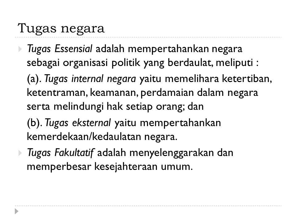 Tugas negara  Tugas Essensial adalah mempertahankan negara sebagai organisasi politik yang berdaulat, meliputi : (a). Tugas internal negara yaitu mem