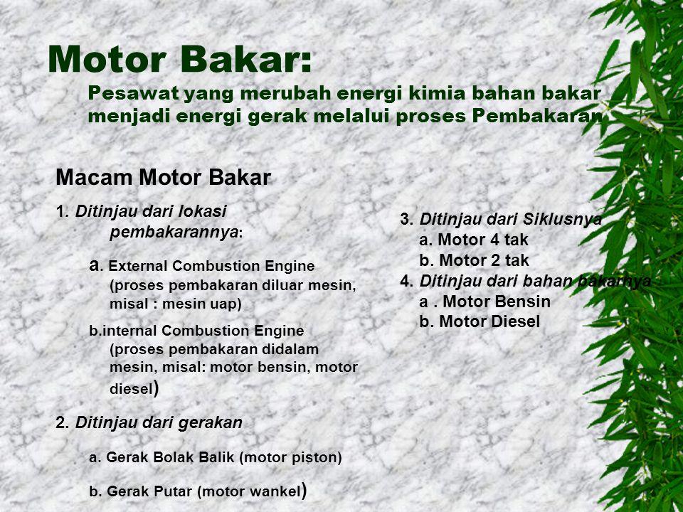 Motor Bakar: Pesawat yang merubah energi kimia bahan bakar menjadi energi gerak melalui proses Pembakaran Macam Motor Bakar 1.