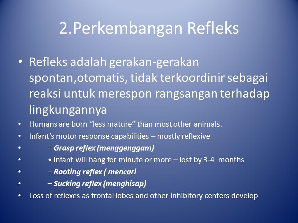 2.Perkembangan Refleks Refleks adalah gerakan-gerakan spontan,otomatis, tidak terkoordinir sebagai reaksi untuk merespon rangsangan terhadap lingkunga