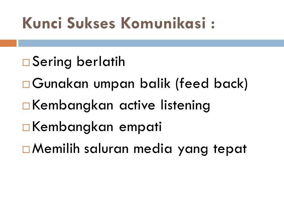 Kunci Sukses Komunikasi :  Sering berlatih  Gunakan umpan balik (feed back)  Kembangkan active listening  Kembangkan empati  Memilih saluran medi