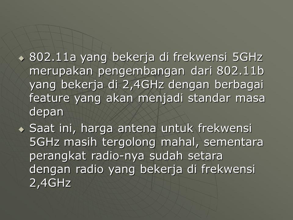  802.11a yang bekerja di frekwensi 5GHz merupakan pengembangan dari 802.11b yang bekerja di 2,4GHz dengan berbagai feature yang akan menjadi standar masa depan  Saat ini, harga antena untuk frekwensi 5GHz masih tergolong mahal, sementara perangkat radio-nya sudah setara dengan radio yang bekerja di frekwensi 2,4GHz