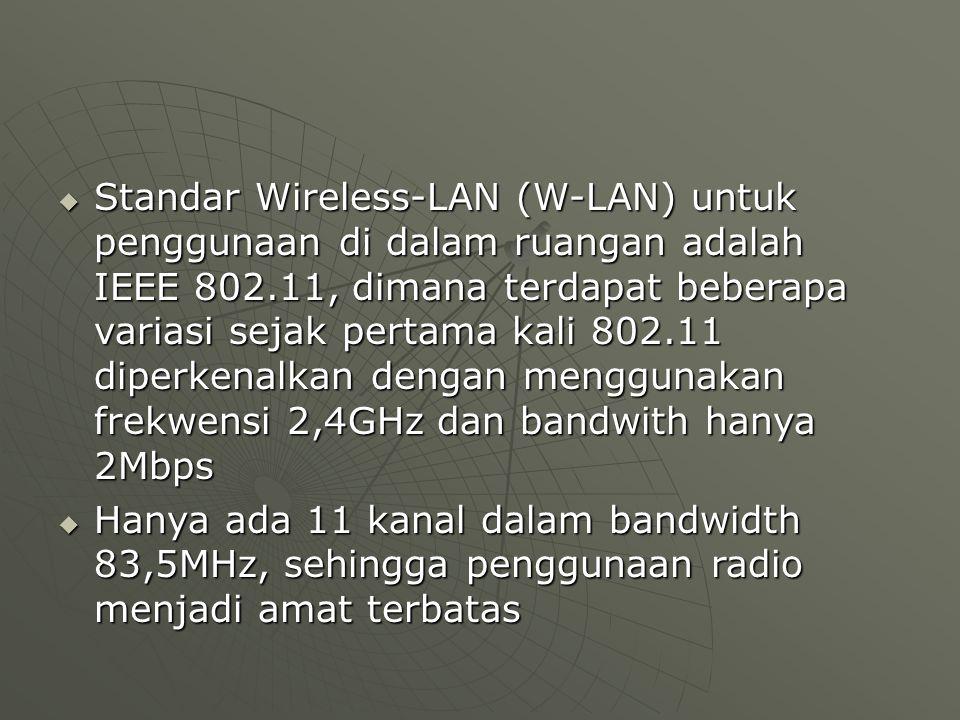  Standar Wireless-LAN (W-LAN) untuk penggunaan di dalam ruangan adalah IEEE 802.11, dimana terdapat beberapa variasi sejak pertama kali 802.11 diperkenalkan dengan menggunakan frekwensi 2,4GHz dan bandwith hanya 2Mbps  Hanya ada 11 kanal dalam bandwidth 83,5MHz, sehingga penggunaan radio menjadi amat terbatas