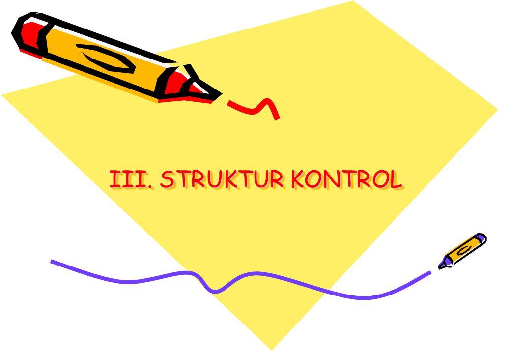 Algoritma & Pemrograman IStruktur Kontrol 2 = Kombinasi dari perintah-perintah individual menjadi satu unit logik dengan satu titik masuk (start) dari satu titik keluar (stop).