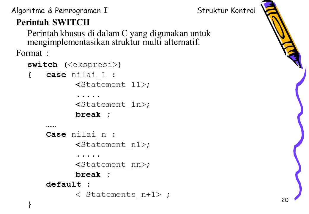 Algoritma & Pemrograman IStruktur Kontrol 20 Perintah SWITCH Perintah khusus di dalam C yang digunakan untuk mengimplementasikan struktur multi altern