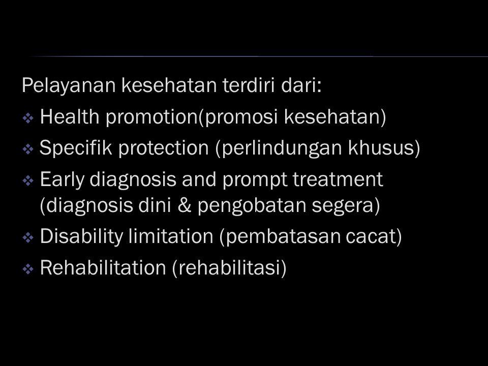 Pelayanan kesehatan terdiri dari:  Health promotion(promosi kesehatan)  Specifik protection (perlindungan khusus)  Early diagnosis and prompt treatment (diagnosis dini & pengobatan segera)  Disability limitation (pembatasan cacat)  Rehabilitation (rehabilitasi)