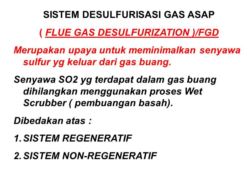 SISTEM DESULFURISASI GAS ASAP ( FLUE GAS DESULFURIZATION )/FGD Merupakan upaya untuk meminimalkan senyawa sulfur yg keluar dari gas buang.