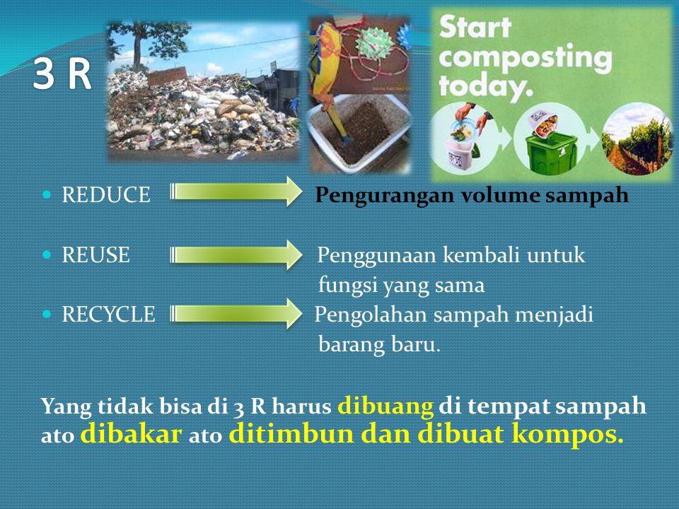 REDUCE Pengurangan volume sampah REUSE Penggunaan kembali untuk fungsi yang sama RECYCLE Pengolahan sampah menjadi barang baru. Yang tidak bisa di 3 R