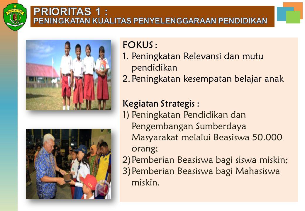 FOKUS : 1.Peningkatan Relevansi dan mutu pendidikan 2.Peningkatan kesempatan belajar anak Kegiatan Strategis : 1)Peningkatan Pendidikan dan Pengembang
