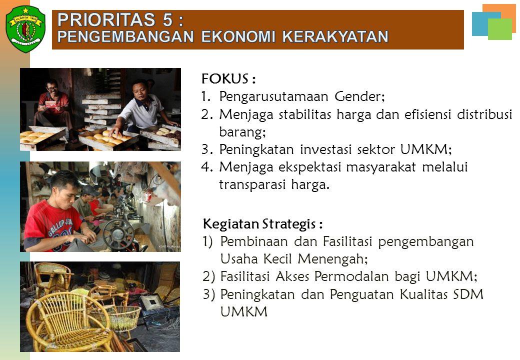 FOKUS : 1.Pengarusutamaan Gender; 2.Menjaga stabilitas harga dan efisiensi distribusi barang; 3.Peningkatan investasi sektor UMKM; 4.Menjaga ekspektas